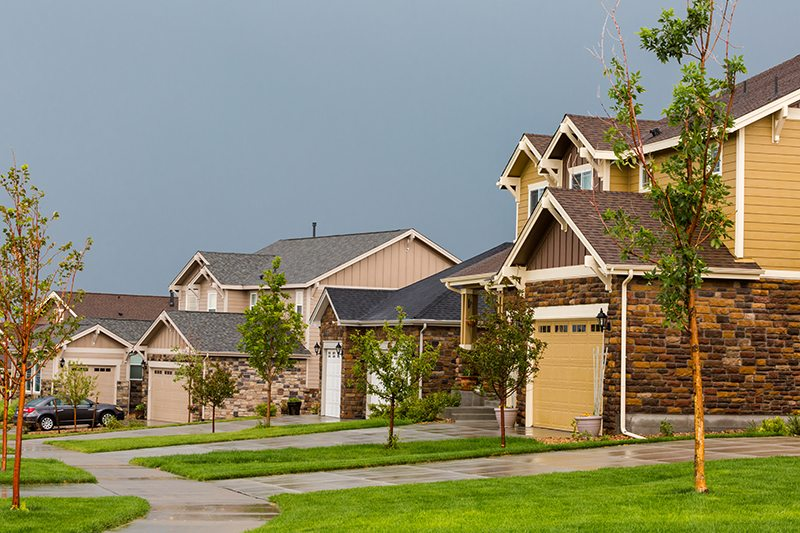 Typical American suburban community with model homes.
